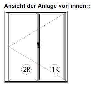 2-teilige Falttüre für Wintergarten