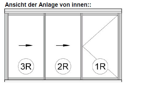 3-teiliges Schiebe-Dreh-System für Balkonverglasung