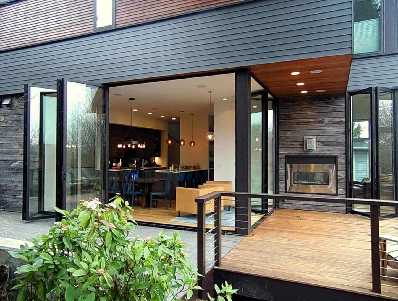 Alu Faltwände mit Glas für Wohnzimmer