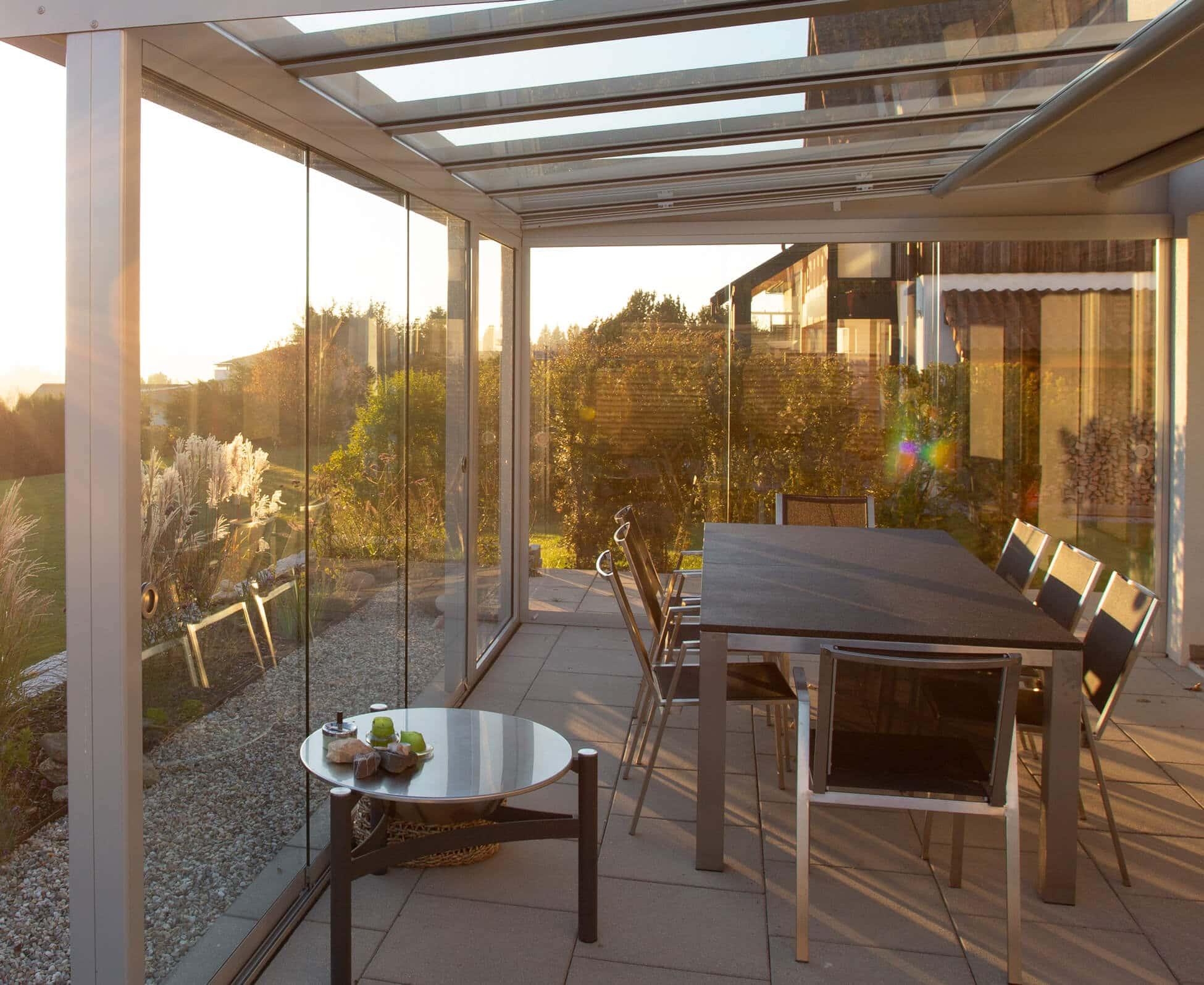 Alu Sommergärten mit Schiebewänden von Sunflex
