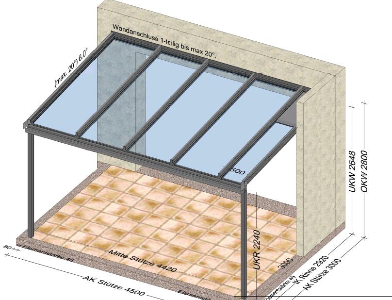 Alu Terrassenüberdachung 4,5 x 3