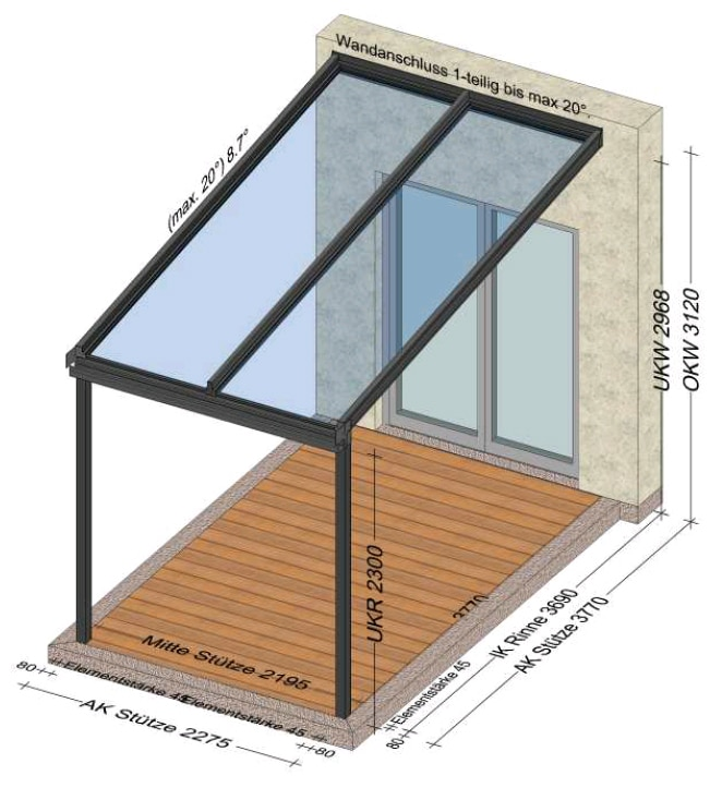 Aluminium Glas Überdachung mit 2 Glasfeldern