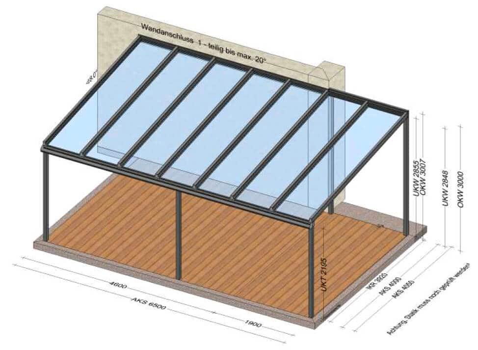 Aluminium Terrassenüberdachung 6,5 x 4 - Planung