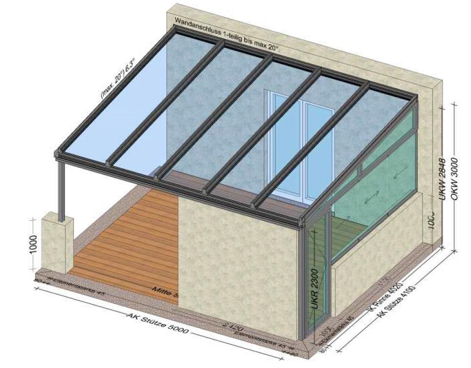 Aluminium Überdachung mit Glas und Seitenwand