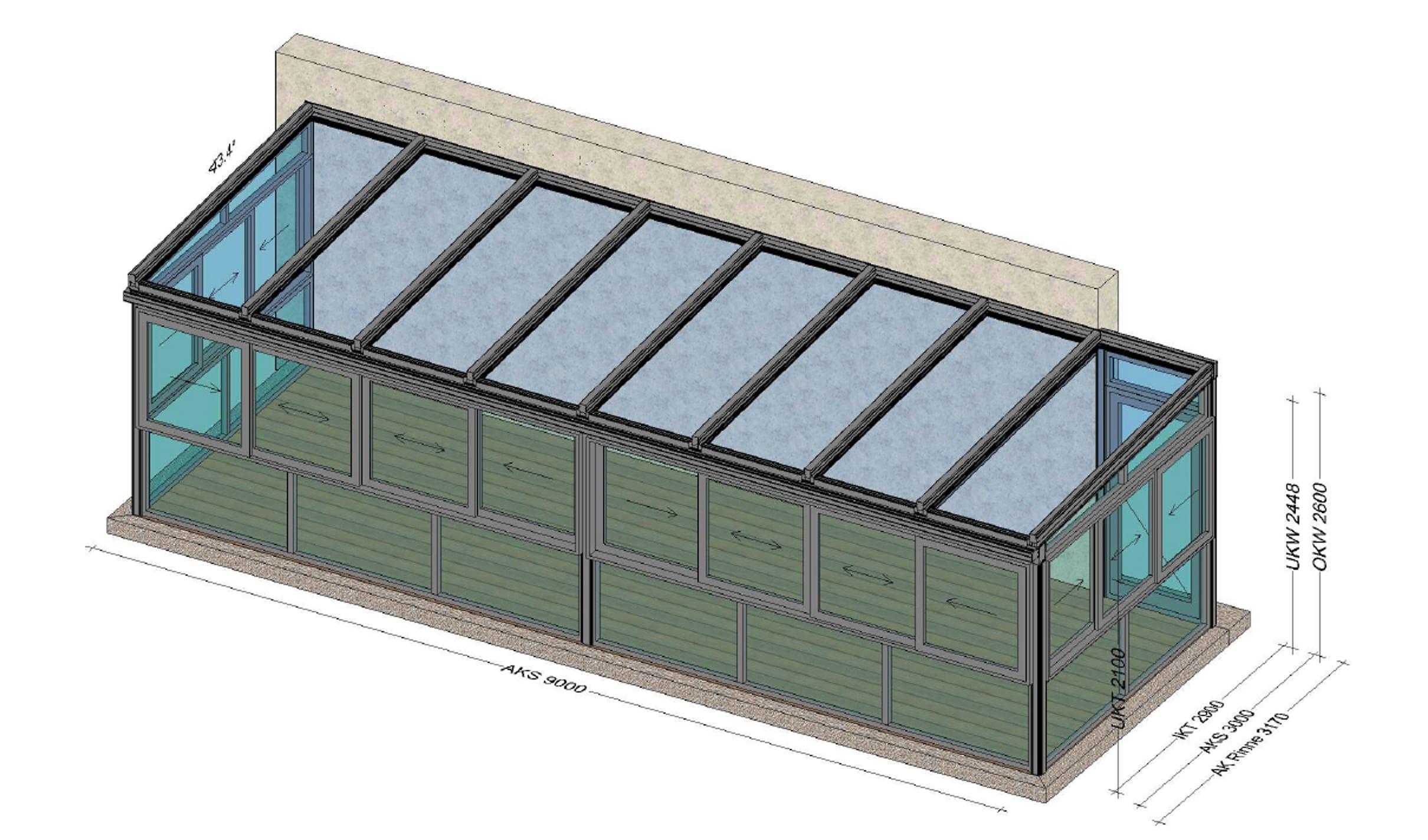 Aluminium Wintergarten mit Schiebefenster