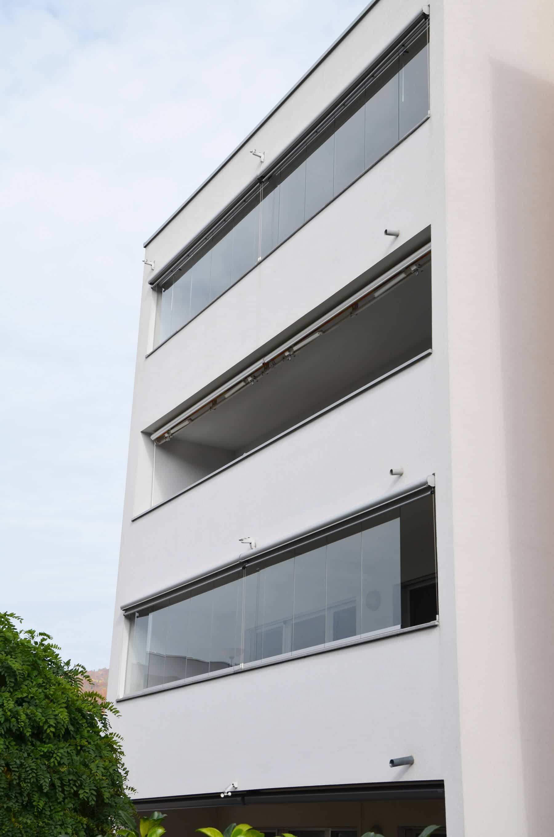 Balkon Glas Faltwand