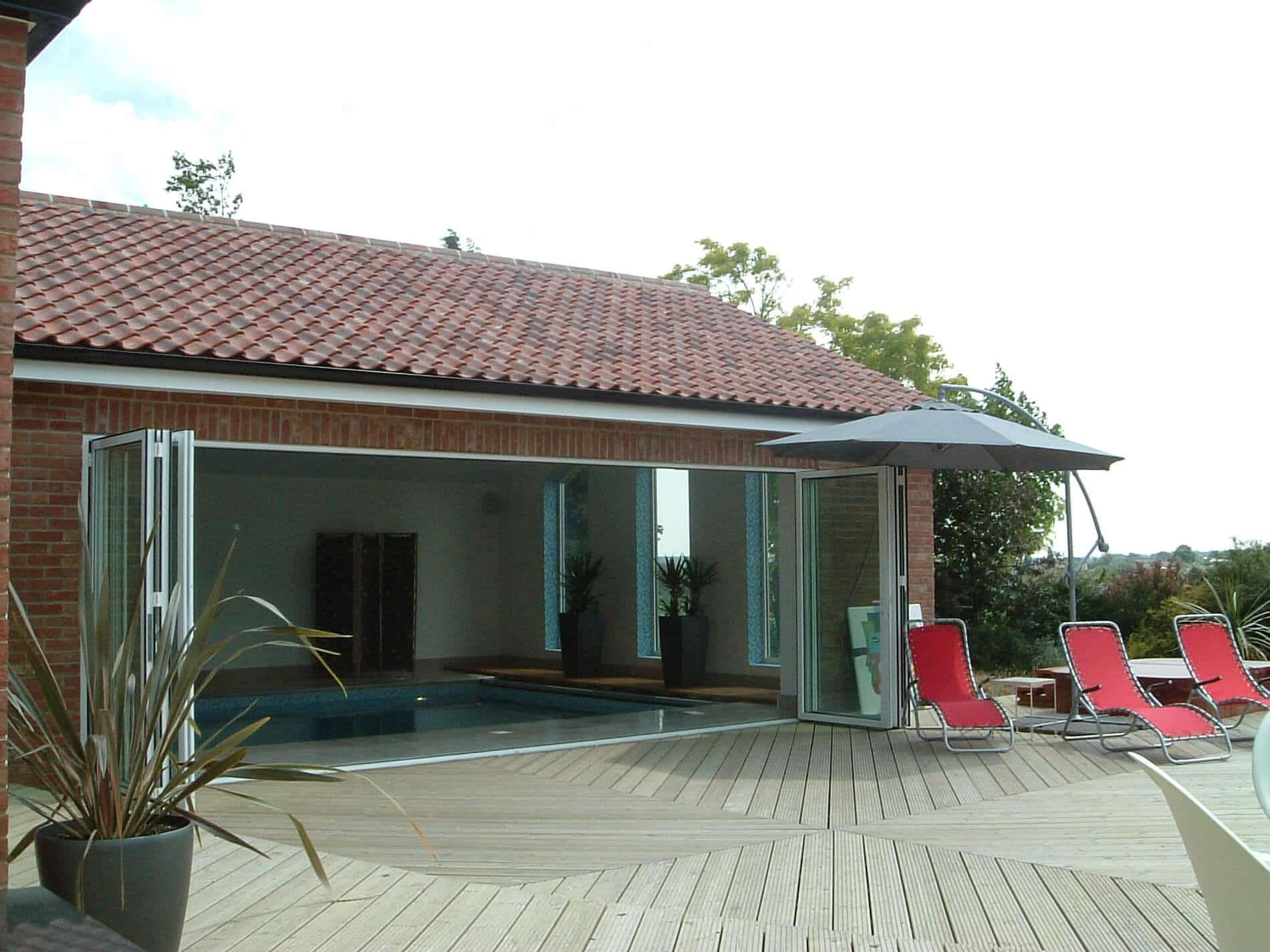 Faltelemente Alu Glas für Poolhaus
