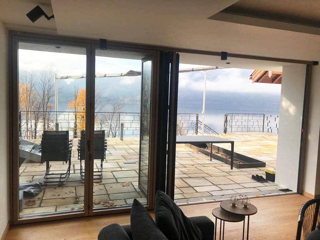 Faltschiebetür Holz-Alu für Terrasse