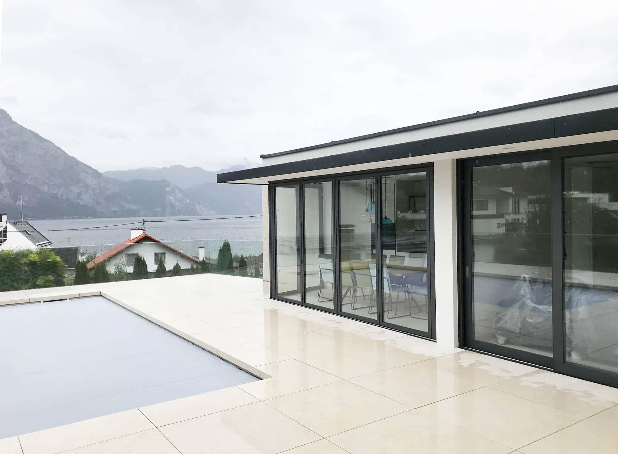 Faltschiebewand Terrasse Aluminium grau