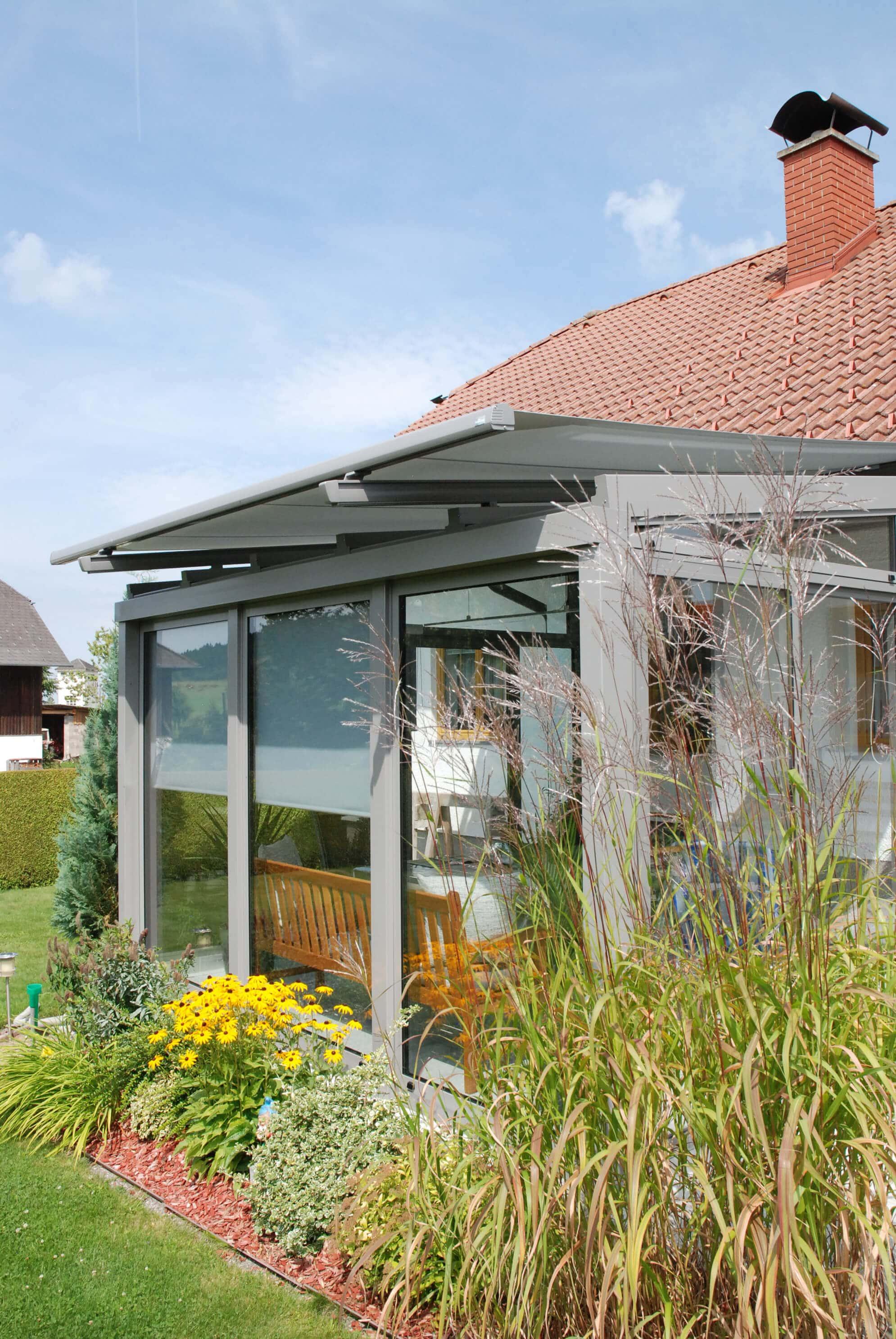 Ganzglas-Schiebe/Drehanlage Terrasse