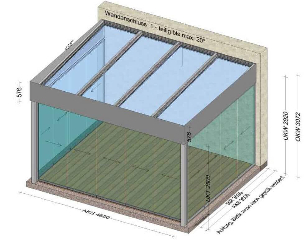Ganzglas-Schiebewand Wintergärten