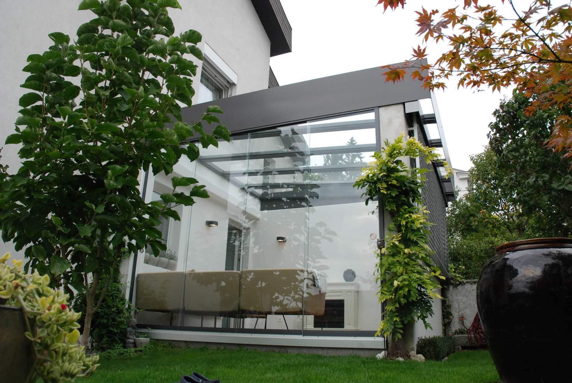 Ganzglasschiebetür Wintergarten