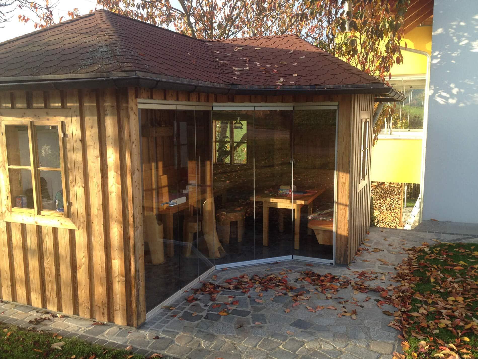 Glas Faltwand für Holzhaus