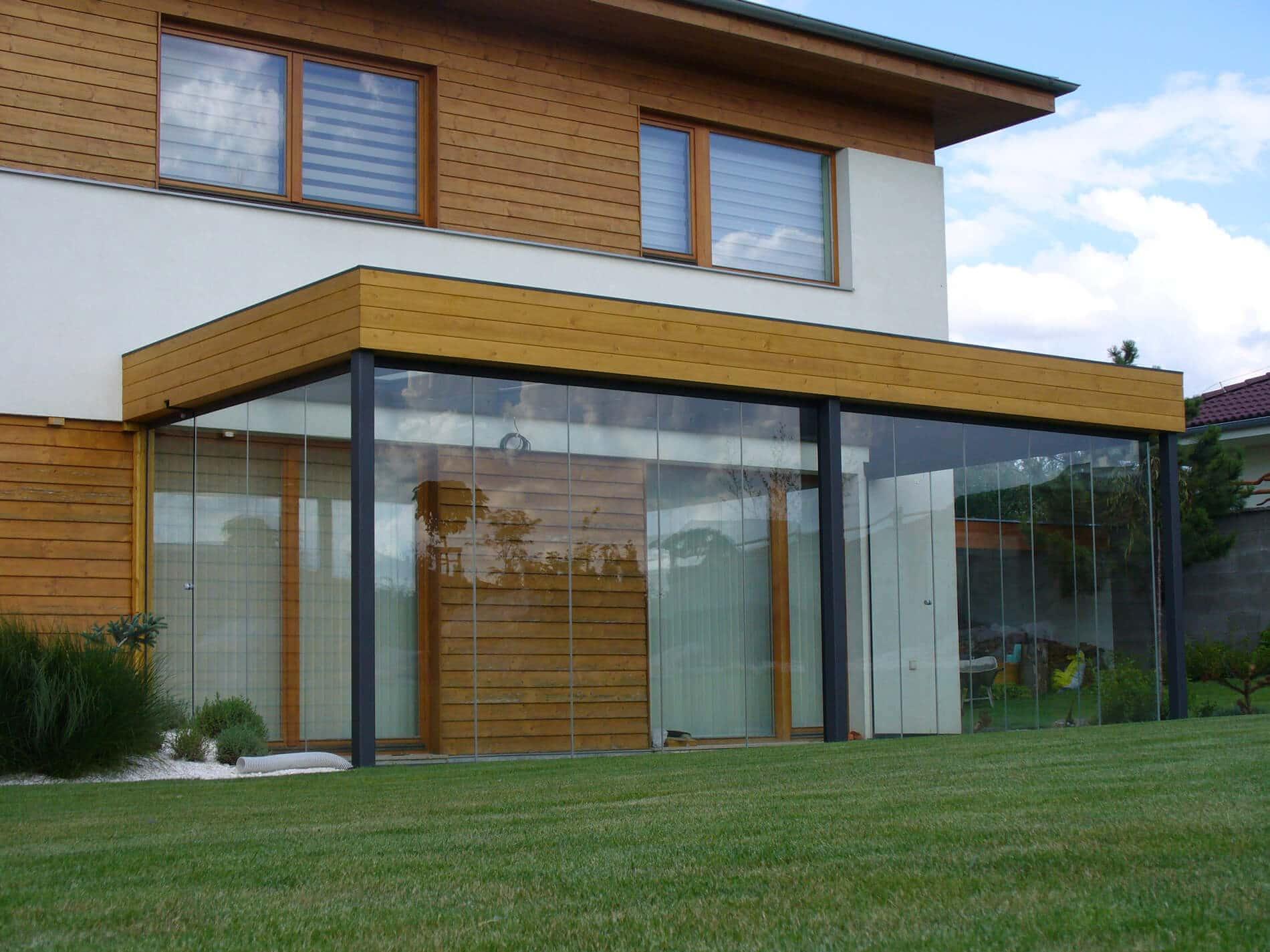 Glas-Schiebe-Drehtüren für Anbau Sommergarten