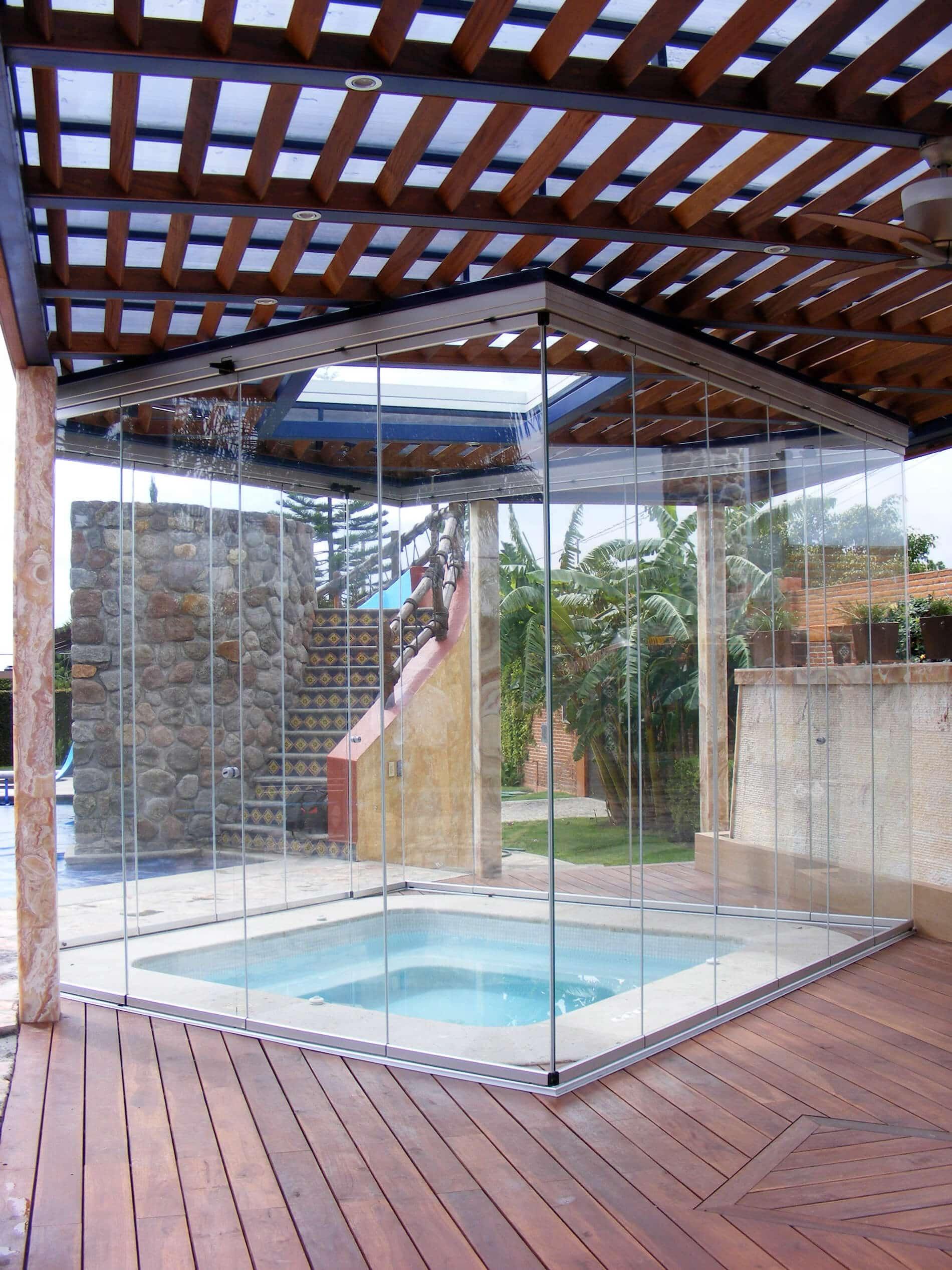 Glas-Schiebewand für Whirlpool-Jacuzzi