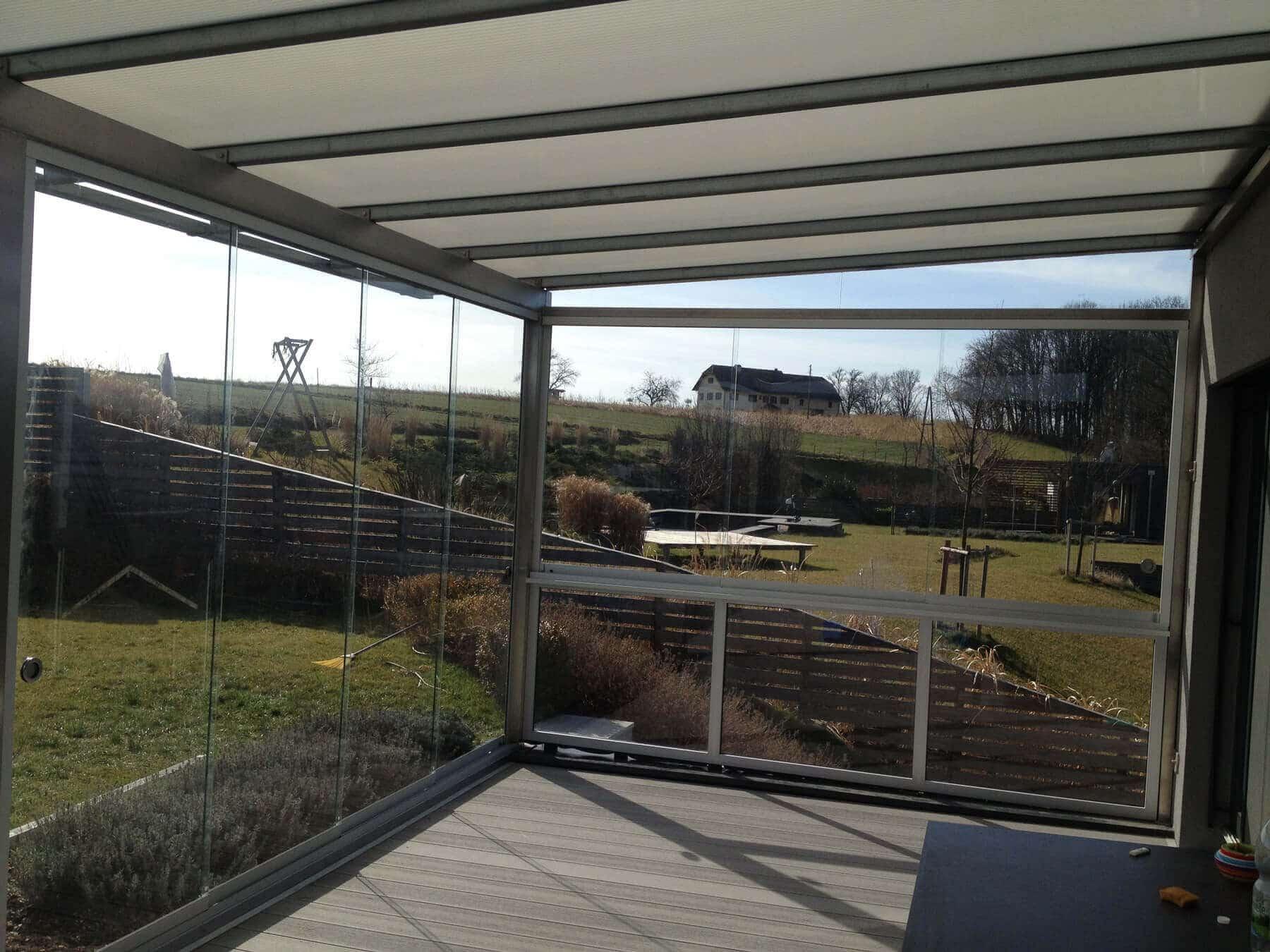 Glas Wintergarten Windschutz