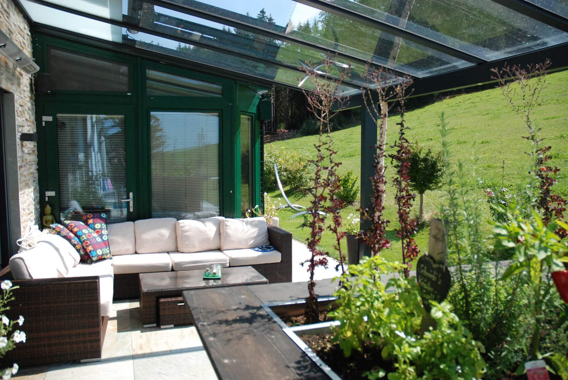 Glasdach Alukonstruktion für Terrasse