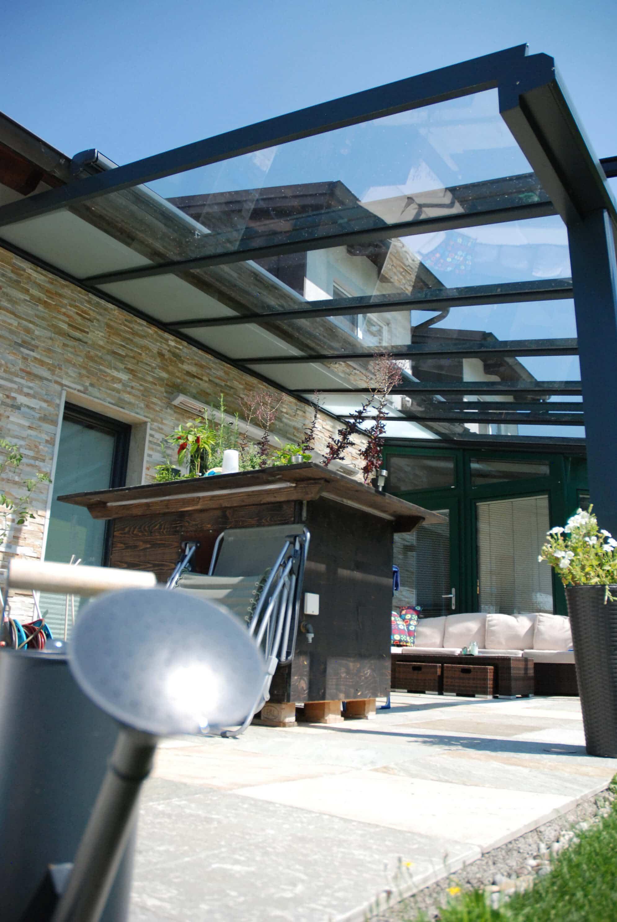Glasdach Aluminium mit Sicherheitsglas