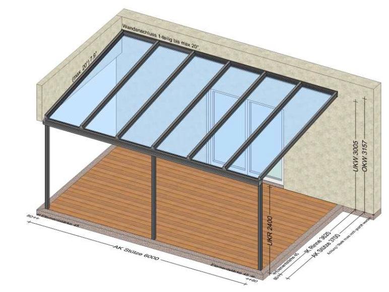 Glasdach auf der Terrasse 6x3,7 Meter