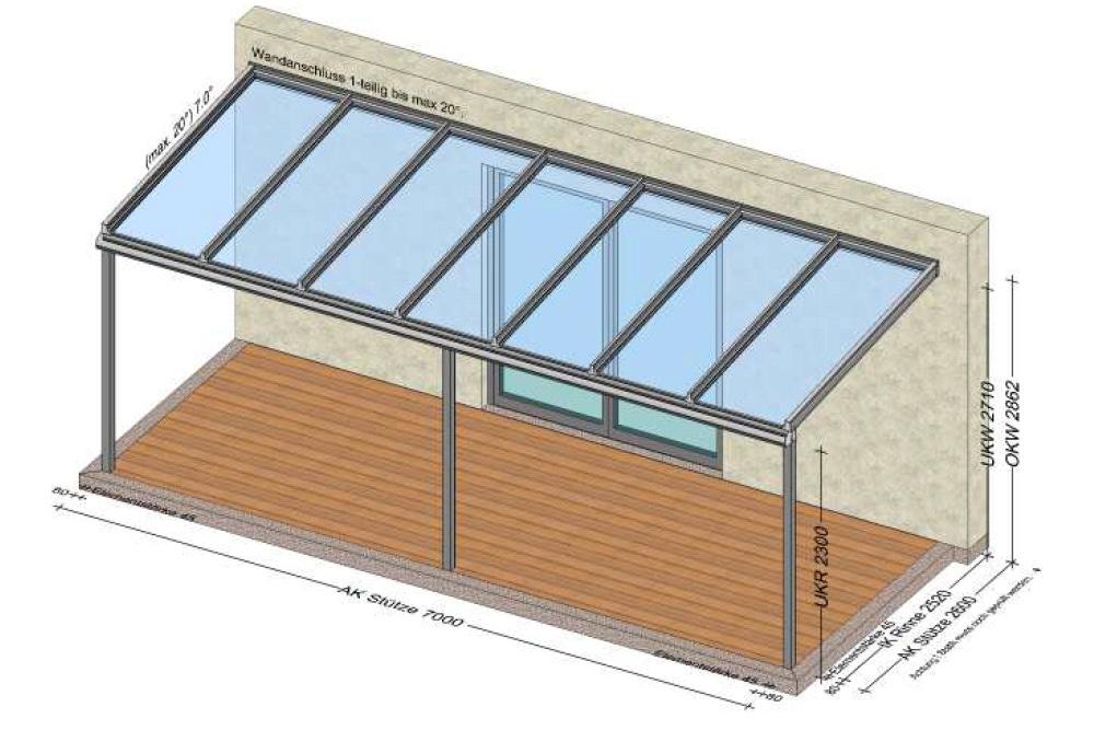 Glasdach auf Terrassen 7x2,6 Meter - Planungsskizze