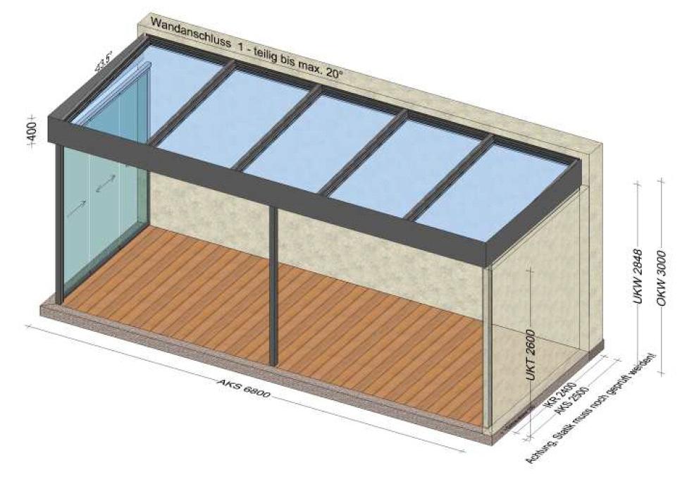 Glasdach mit Flachdach und seitlicher Verglasung