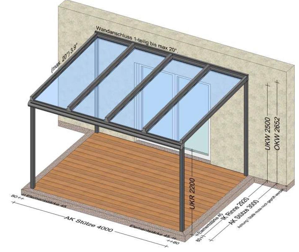Glasdach Terrasse 4x3 Meter