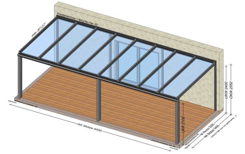 Glasdach Terrasse 8,2 Meter x 3,4 Meter