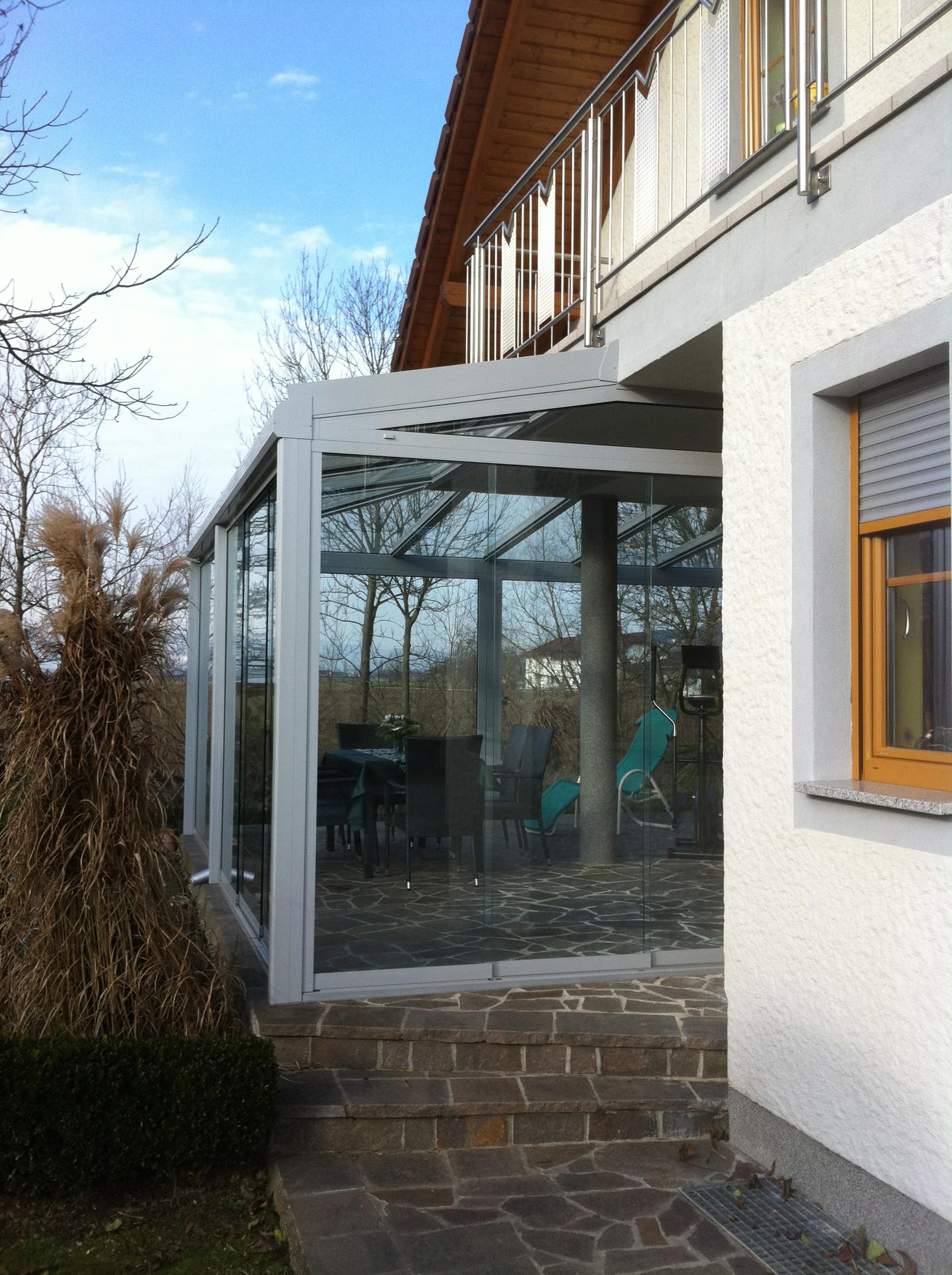 Glasdach Terrasse mit Schiebetüren