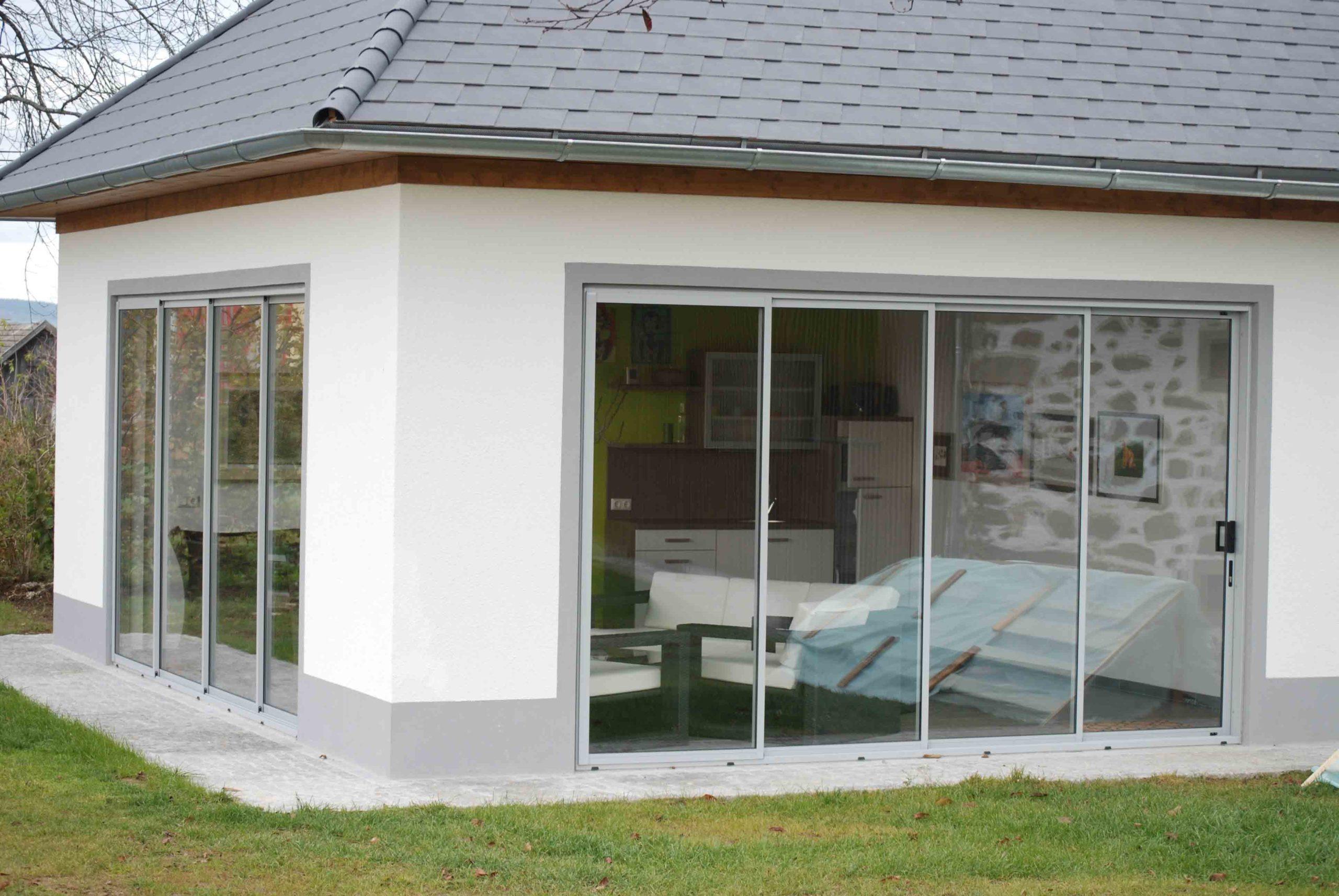 Glasschiebeelemente mit Rahmen für Terrasse