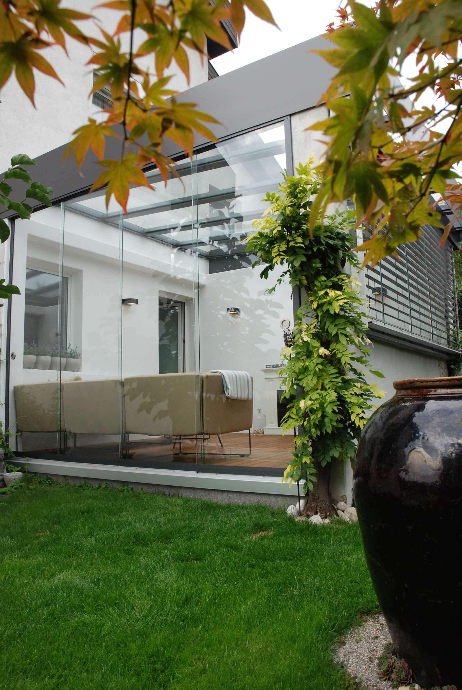 Glasschiebetür 4 flügelig für Wintergarten