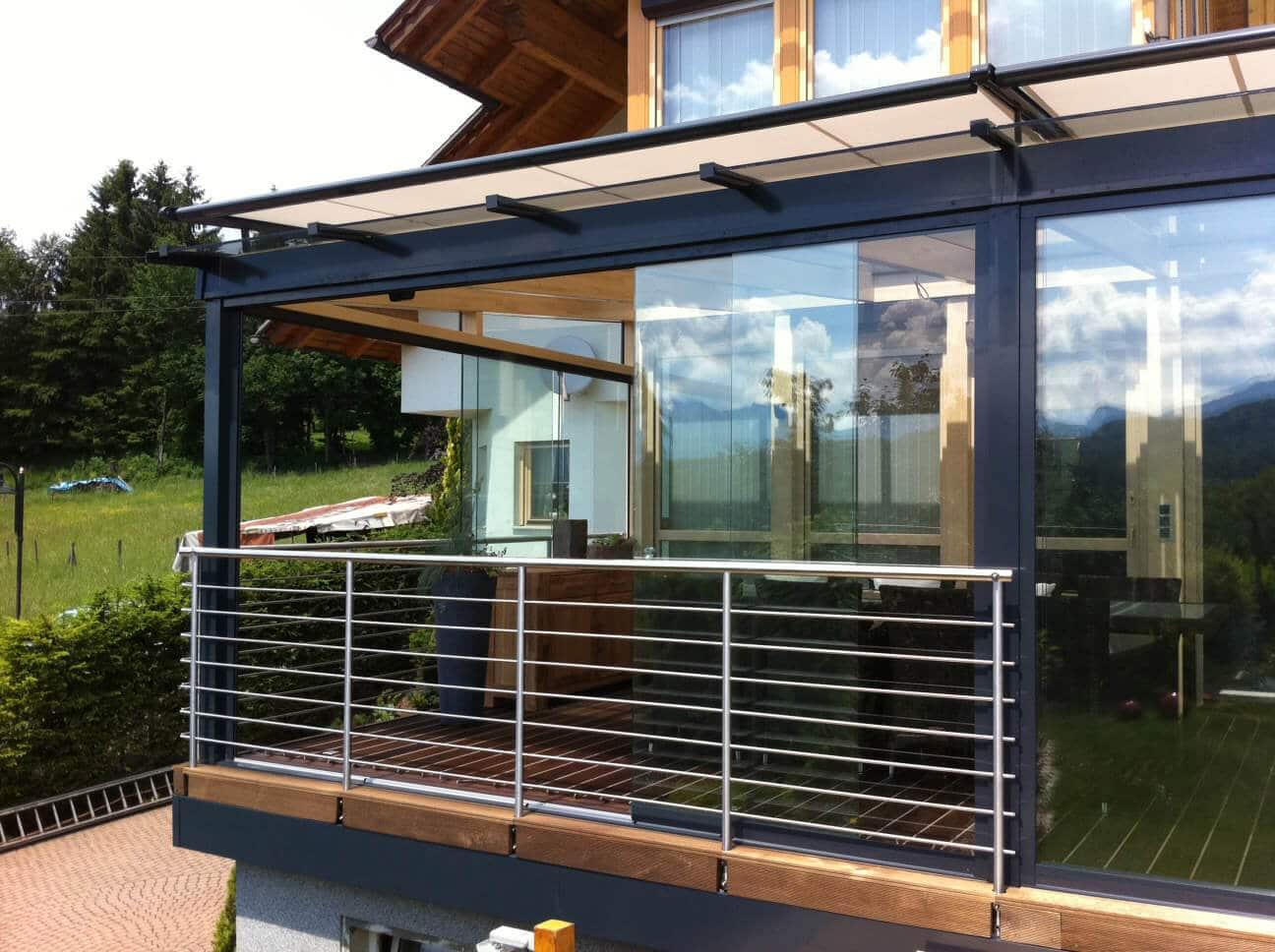 Glasschiebetüren für Terrassenüberdachung Österreich