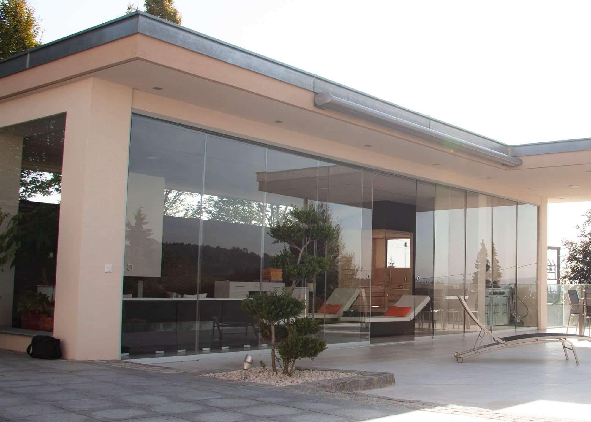 Glasschiebewand mehrteilig Terrasse