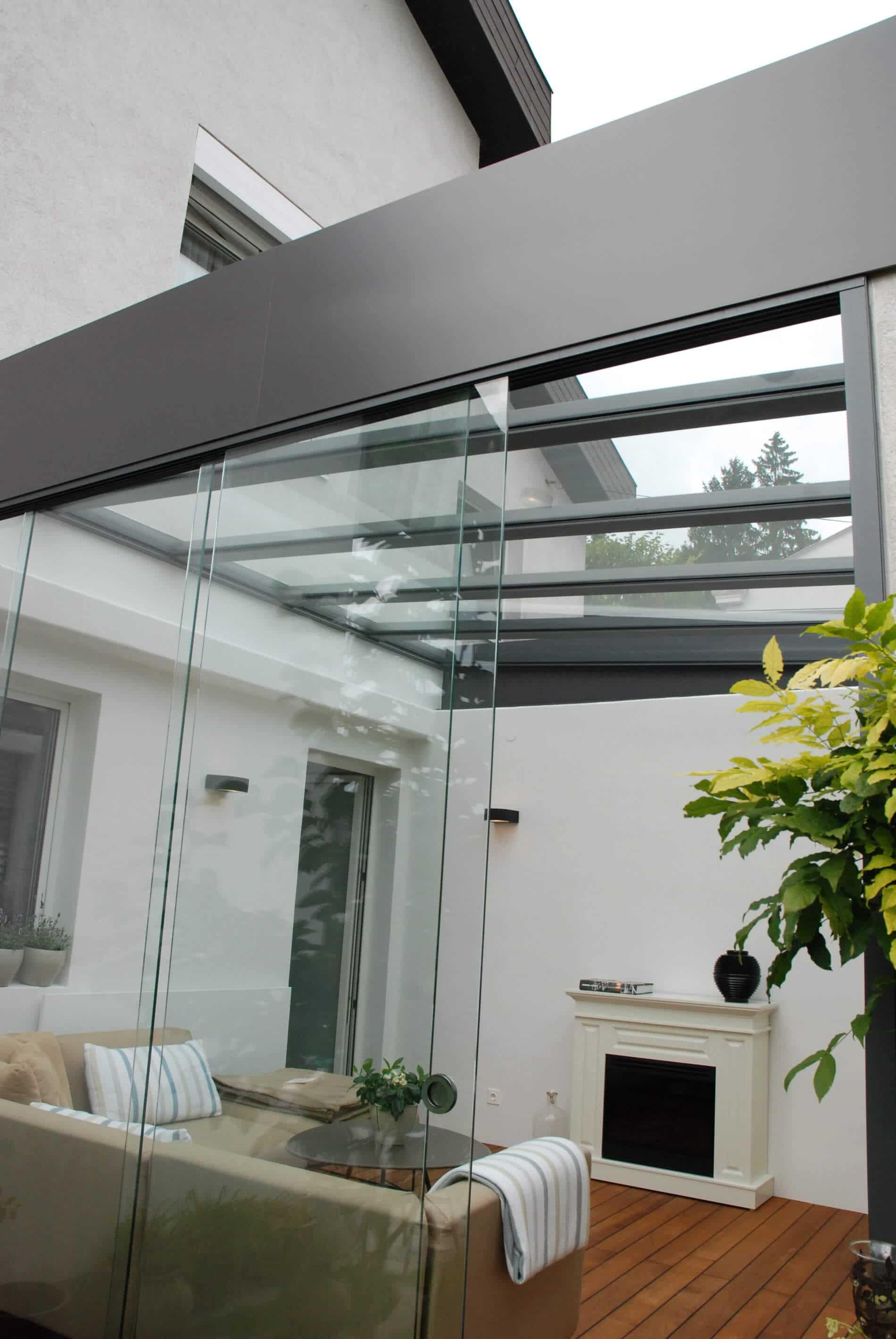 Glastür schiebbar ohne Rahmen