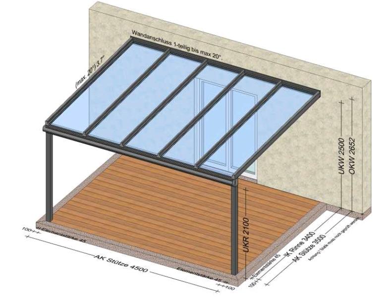 Glasüberdachte Terrasse - Beispiele Skizzen