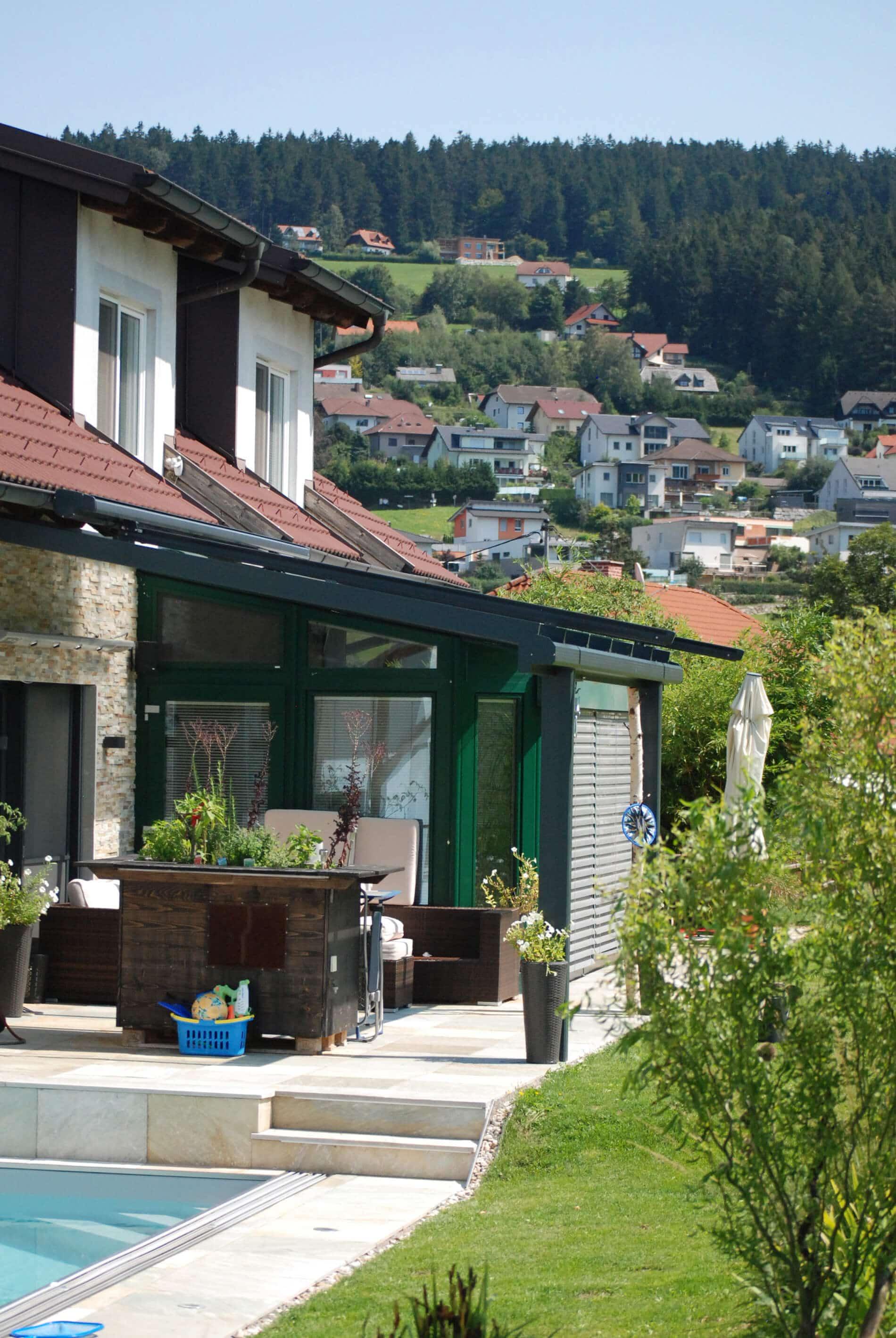 Glasüberdachte Terrassen Einfamilienhaus