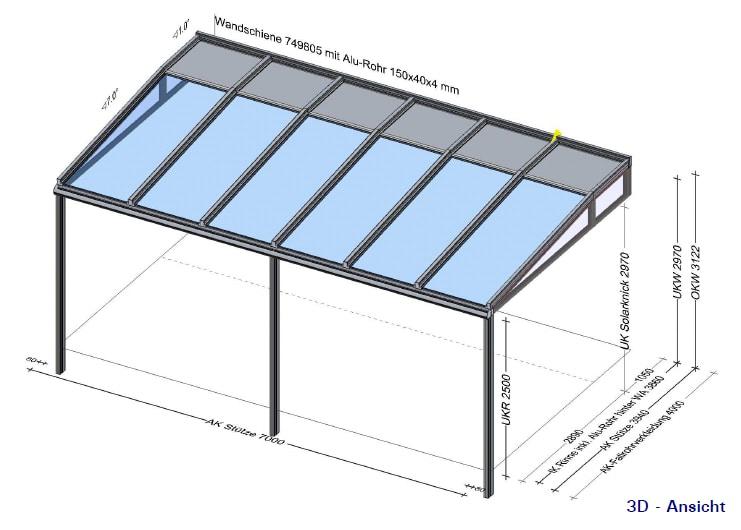 Glasüberdachung 7 x 4 Meter