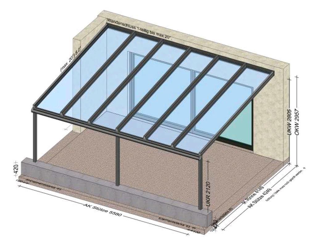 Glasüberdachung auf Terrasse 5,5 x 4,2 Meter