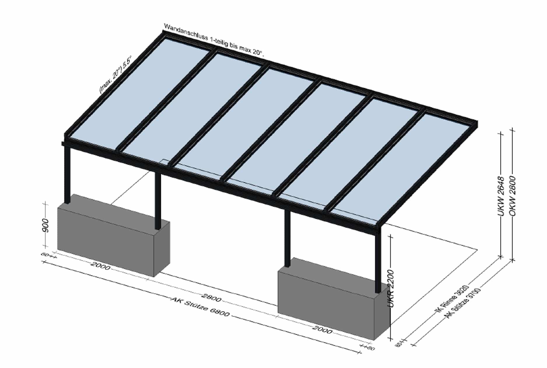 Glasüberdachung BV Rettenbach-Gmunden