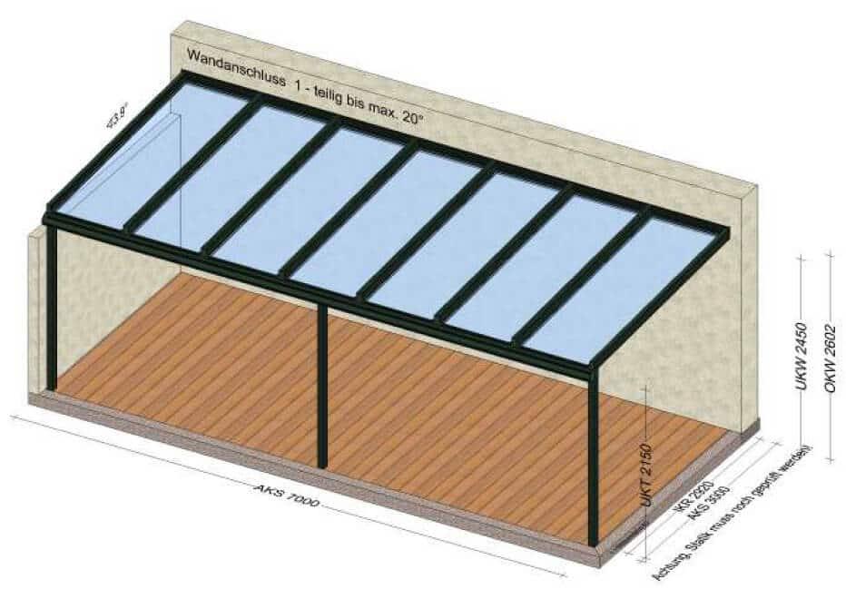 Glasüberdachung mit 7 Glasfeldern - 7x3