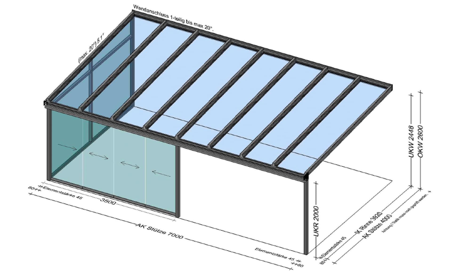 Glasüberdachung Terrasse mit seitlicher Schiebewand und Fixfenstern