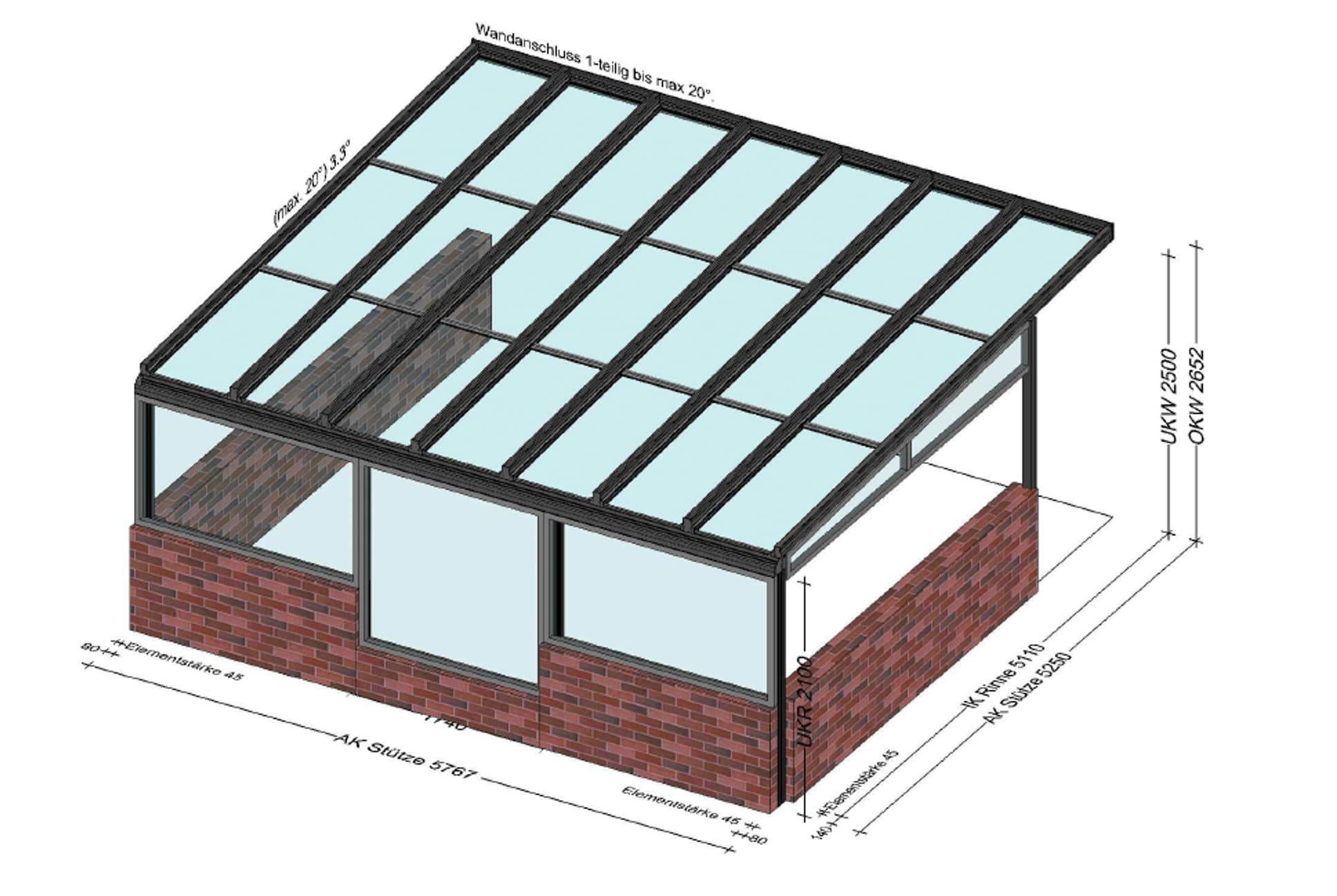 Glasüberdachungen Aluminium vorne mit Fixfenster
