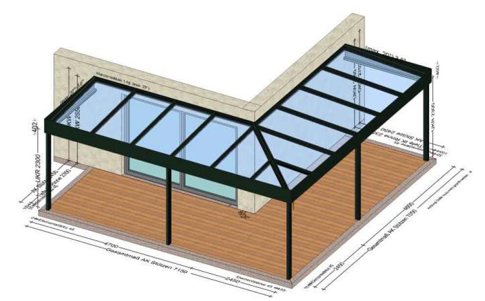 Glasüberdachungen mit Ecklösung nach Maß