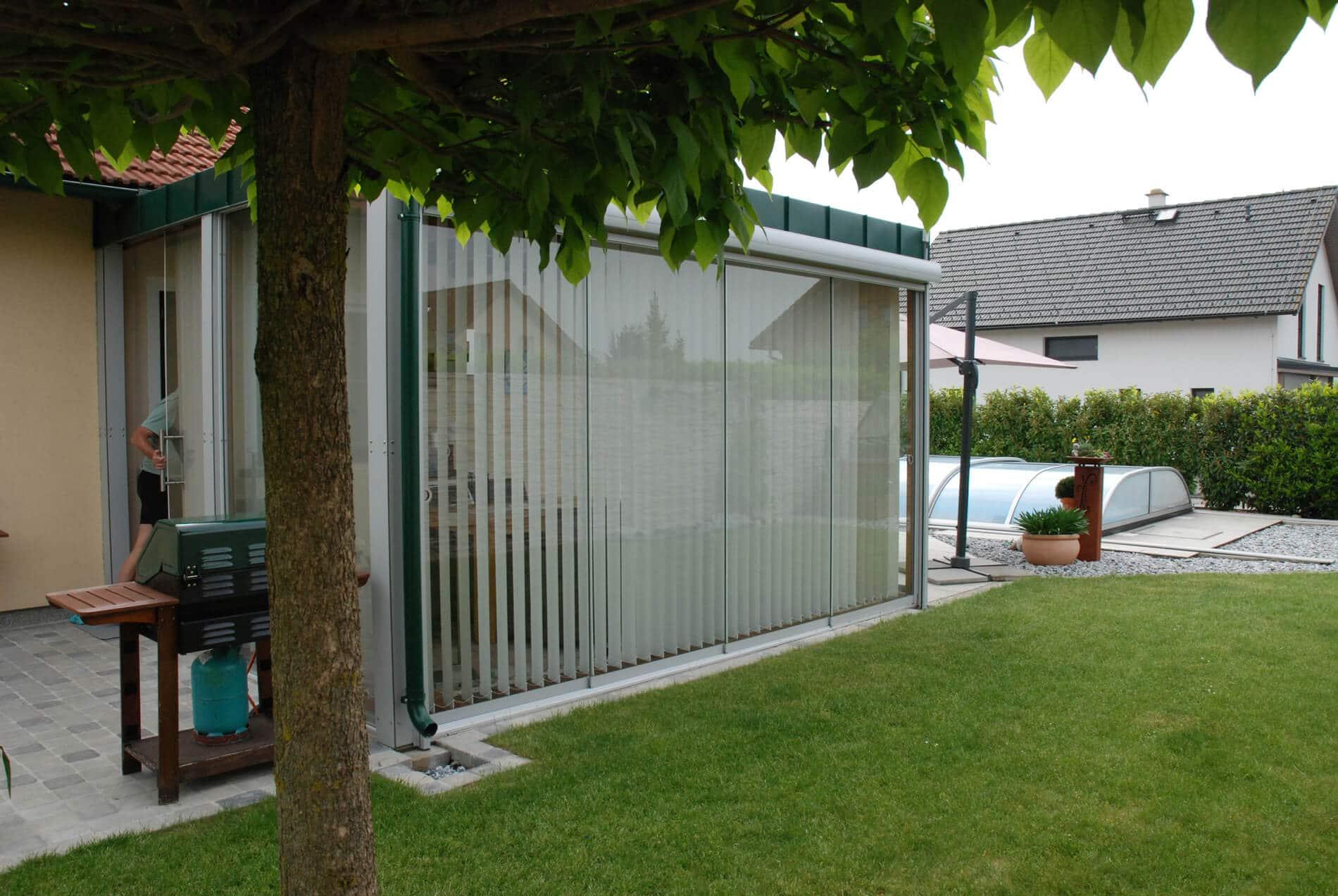 Glaswand für Terrasse Wind- & Sichtschutz