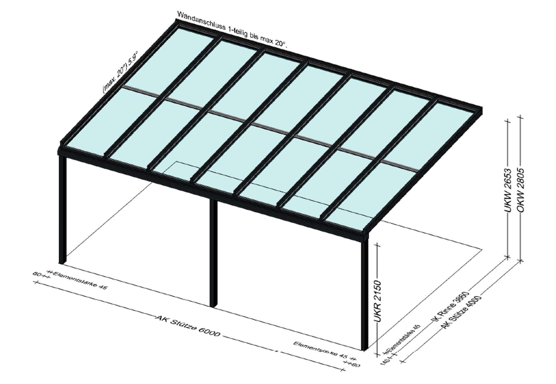 Große Terrassenüberdachung 6 x 4 Meter