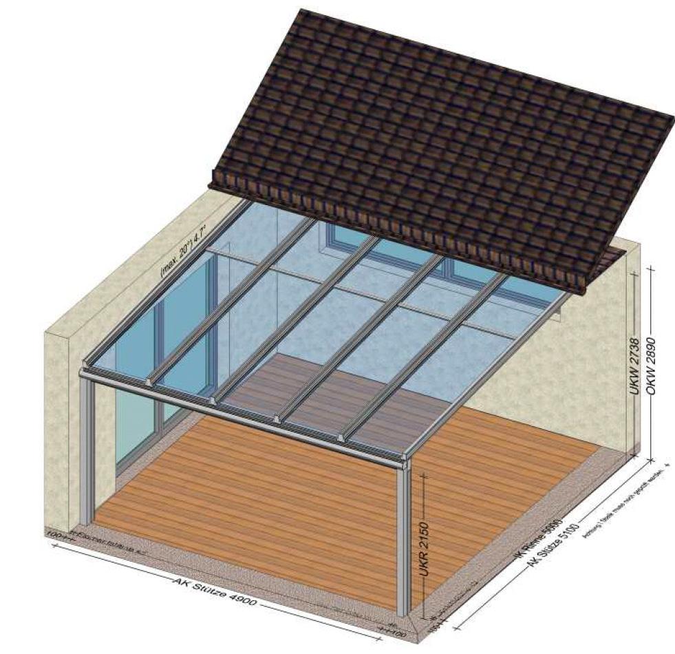 Große Terrassenüberdachung individuell gelöst - Planung