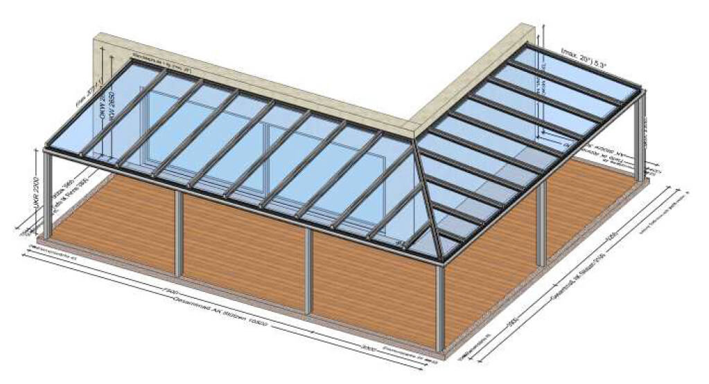 Große Terrassenüberdachungen Aluminium VSG-Gläser