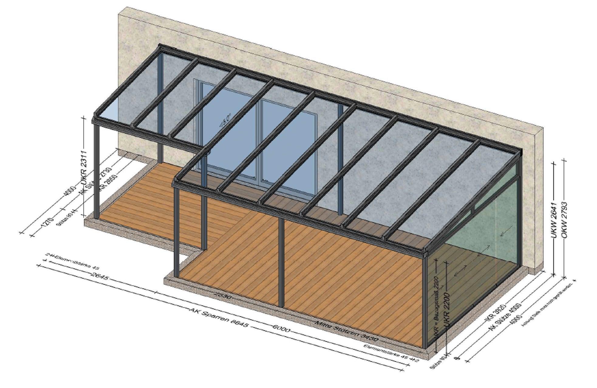 grosse Terrassenüberdachung mit einer Glasschiebetüre