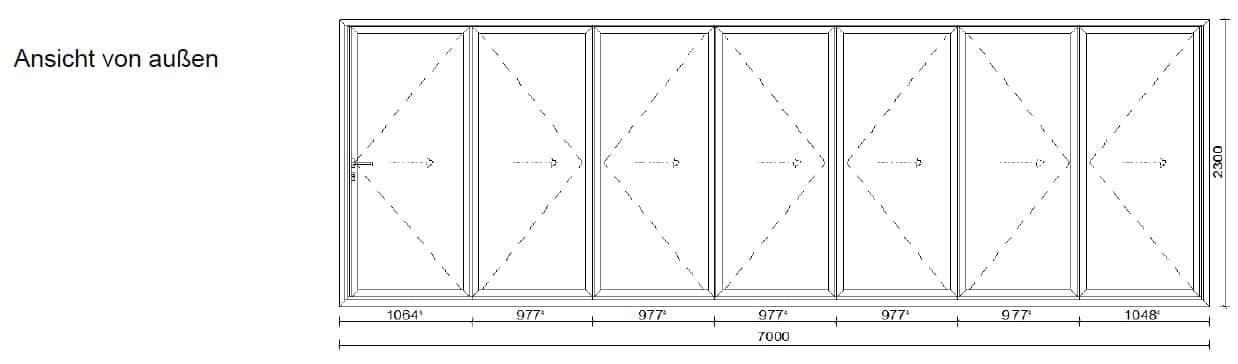 Großes Faltelement mit 7 Metern - Planung