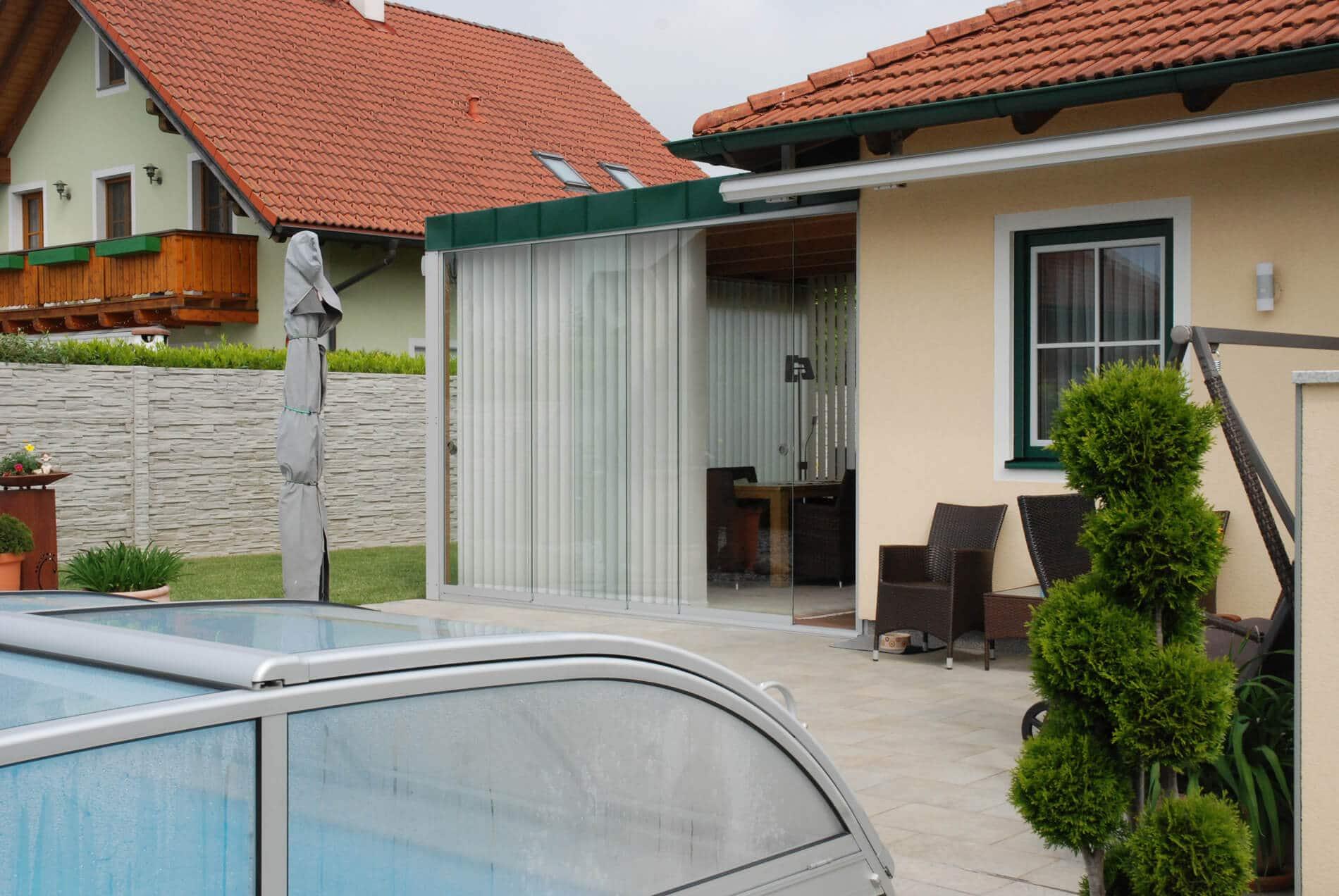 Holz-Aluminium Anbauwintergarten - Schiebesysteme Sunflex