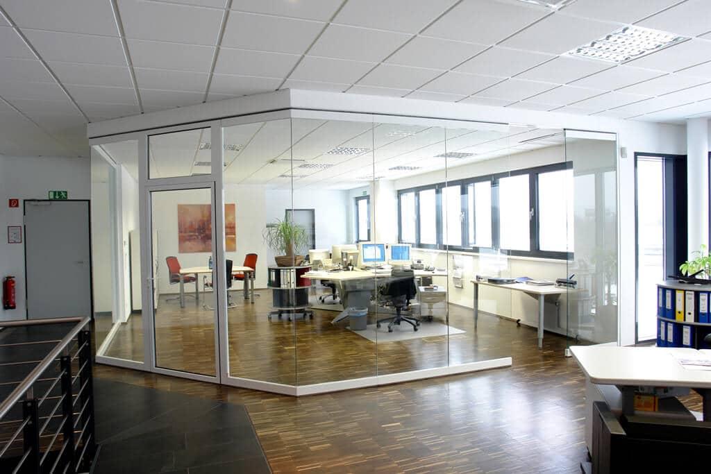 Horizontal-Schiebetüren ohne Rahmen für Büro